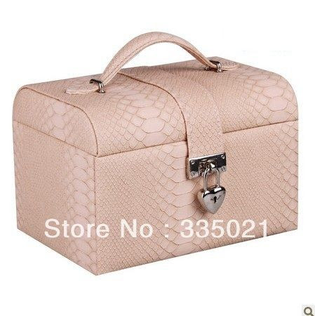 Fashionable lizard veins jewelry box high quality leather jewelery storage case with lock brithday gift caja de joyas US $36.90