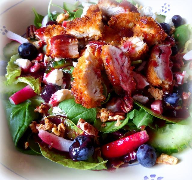 Crispy Chicken Salad with a Blueberry Vinaigrette