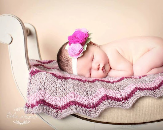 Chevron Baby Blanket Pink and Brown Hand by LeosLovelyTreasures