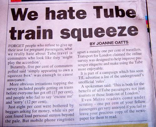 Metro Publish London Underground Survey Results of Tube Pet Hates