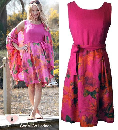 1. Fushia Flower Printed Linen Tea Dress   Made in Italy