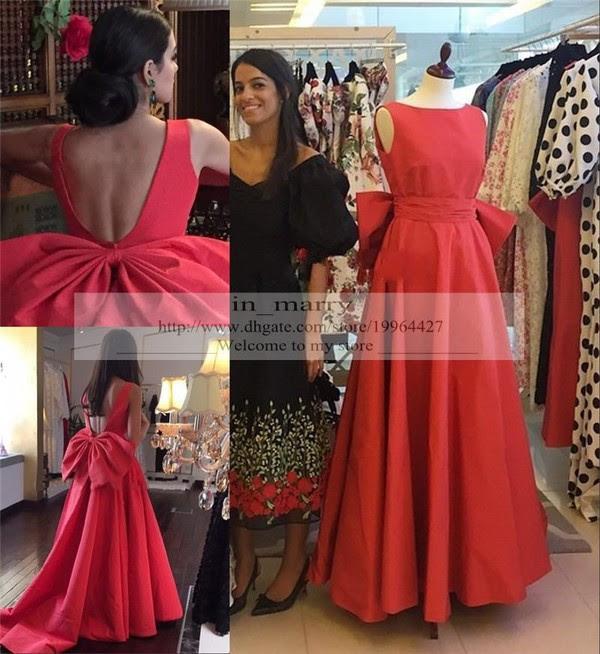 Long red satin evening dress