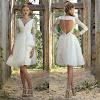 Knee Length Long Sleeve Wedding Dress