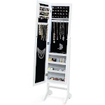 Freestanding Mirrored Jewelry Armoire Cabinet with Lights | Costway