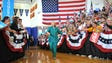 Clinton arrives at a campaign rally where she talked