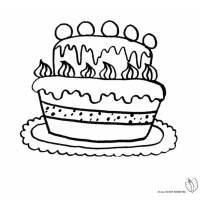 Disegno Di Torta Compleanno Con Palloncini Da Colorare Per Bambini