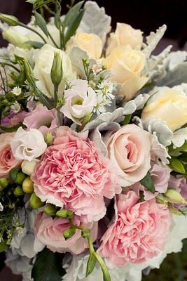 lisianthus, dusty miller, garden roses, freesia...in bouquet
