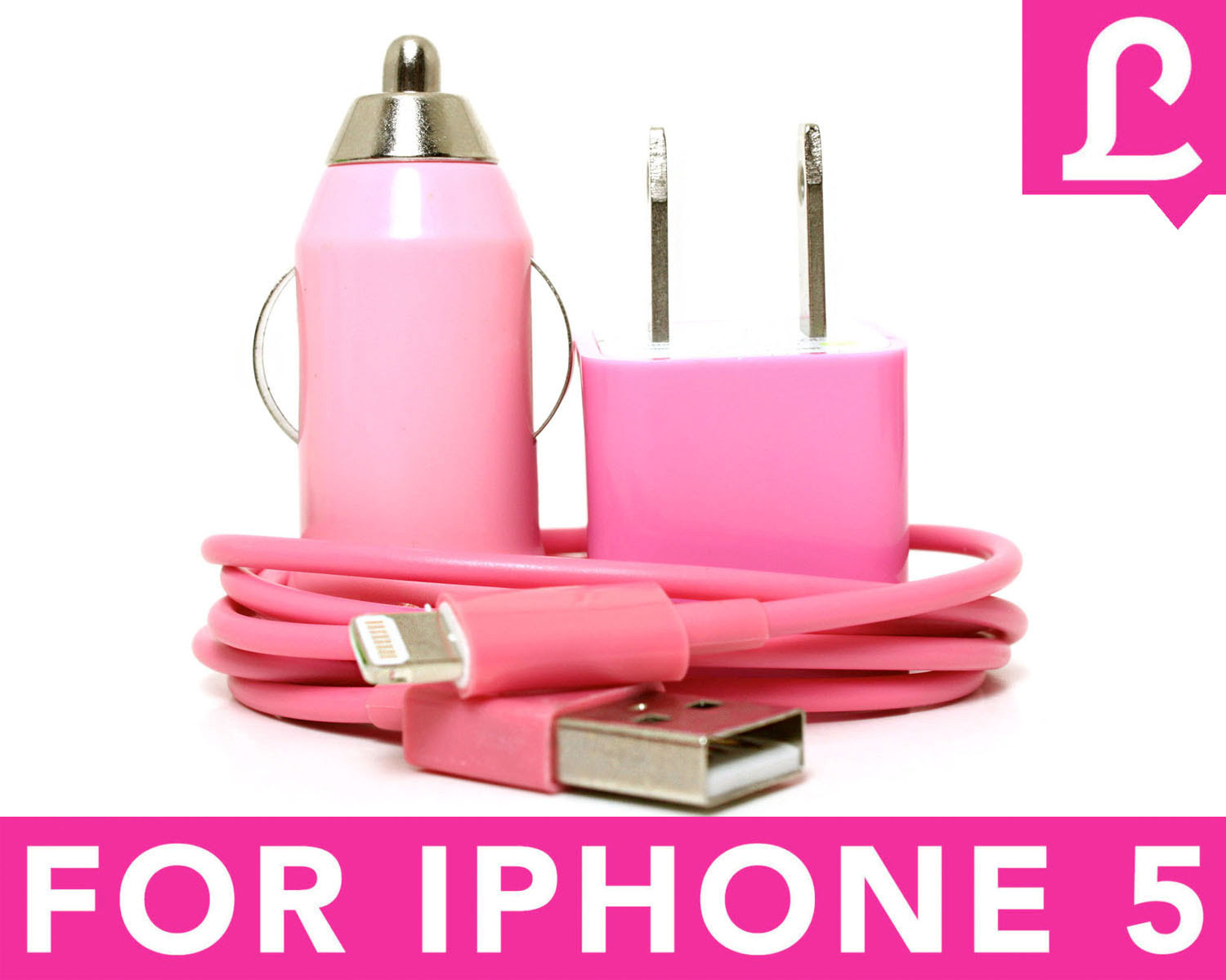 IPhone 5 Charger - 3-in1 Pink IPhone 5 Charger on Luulla