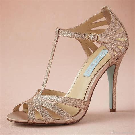 Champagne Glittery Wedding Shoe Handmade Pumps T strap