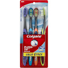 Colgate 360 Total Advanced Floss-Tip Slim Toothbrush, Assorted - 4 count