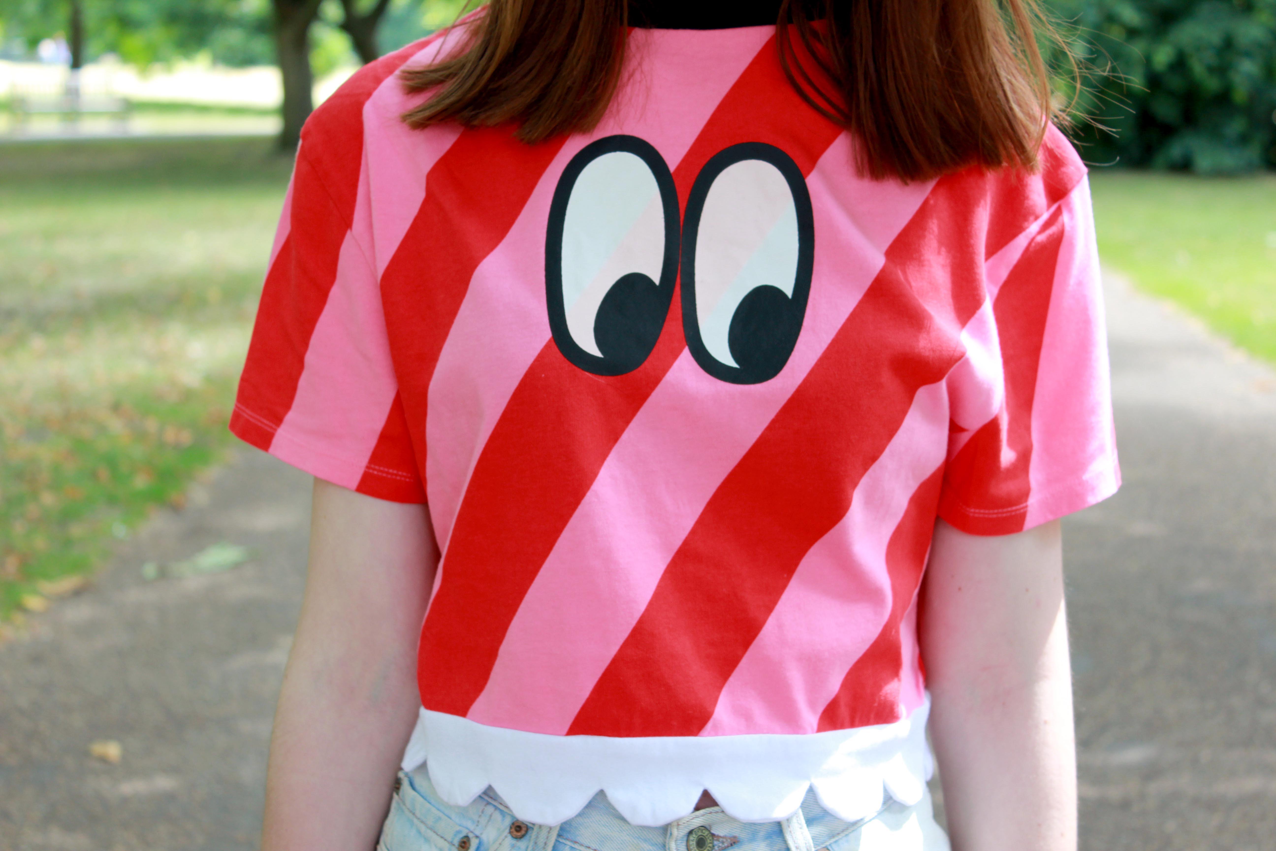 Fashion blogger wearing a Lazy Oaf eye print candy strip top