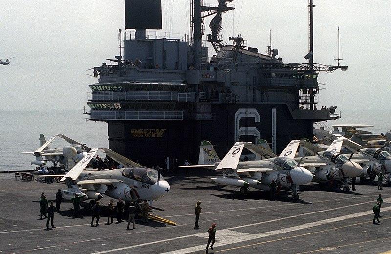 File:USS Ranger (CV-61) flightdeck and island 1980.jpg