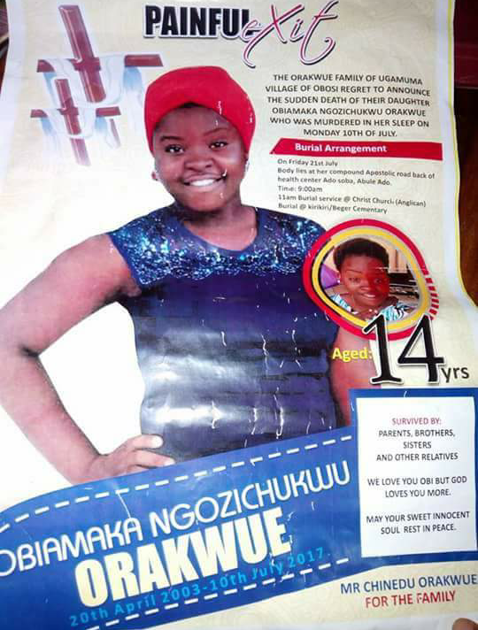 Photos: 14-Year-Old Jss 3 Girl Obiamaka Ngozichukwu Raped And Killed By Lagos Area Boys For Refusing To Be Their Girlfriend