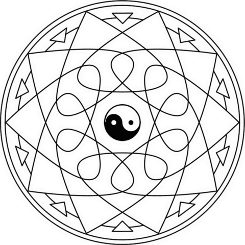 Dibujo De Mandala Yin Yang Para Colorear Dibujos Para Colorear