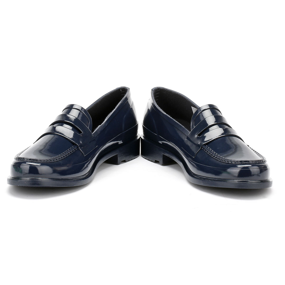 Hunter Original Womens Navy Rubber Penny Loafer, Casual ...