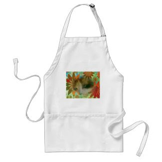 snowshoe sixties flower child kitty adult apron