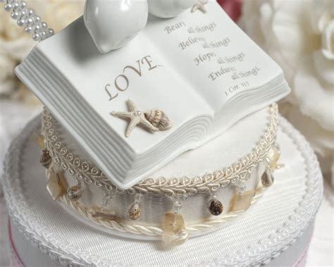 Love Verse Bible Cake Topper with Doves and Starfish Beach