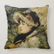 Jeanne: Spring 1881 by Manet throwpillow