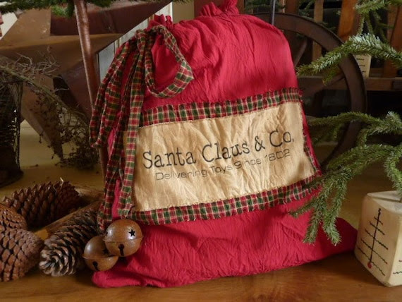 Primitive Christmas Santa Sack
