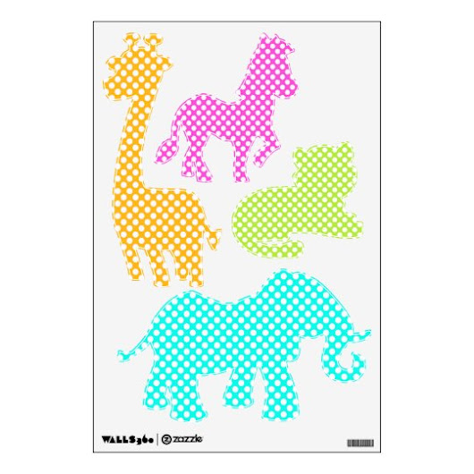 Colorful Polka Dots - Jungle Animals Wall Decals