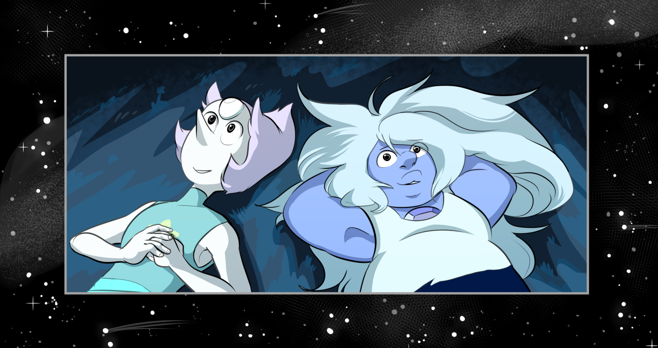 I took a break from commissions to draw my favs stargazing together,