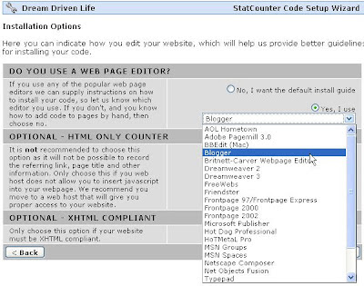 Statcounter choose Blogger