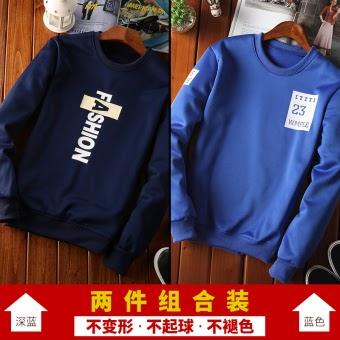 Harga Kaos Oblong Pria Lengan Panjang Leher O Model Tipis Versi Korea (Panjang zuo VE02 biru tua + VE15 warna biru) Online Murah - tokoijn