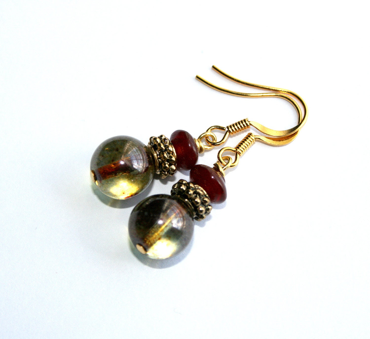 Antiqued Earrings, Glass, Gold, Maroon, Vintage Inspired