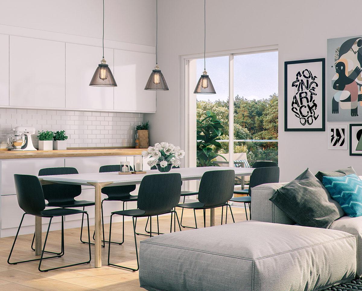 artistic scandinavian style dining room