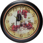 Infinity Instruments Valencia Silent Wine and Grapes Wall Clock, 12""