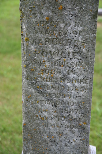 Closeup of Margaret Fowlie's tombstone