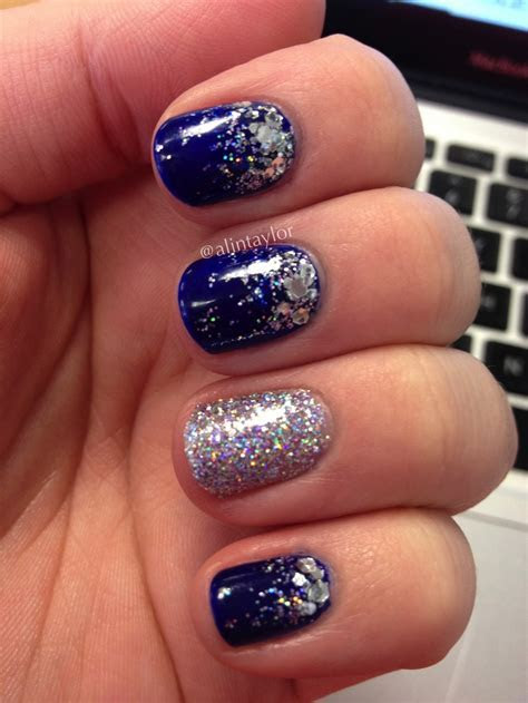 Royal blue holographic glitter gradient   Nails   Royal