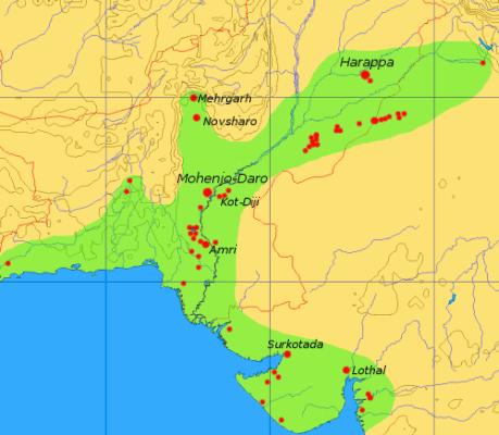 Máxima extensión de la cultura del valle del Indo.