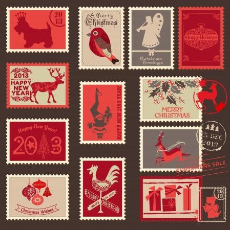 Navidad sellos - para el diseño, libro de recuerdos - en vector Foto de archivo - 16221309