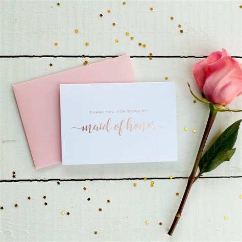 Rose Gold Foil Thank You For Being My Maid Of Honor Card