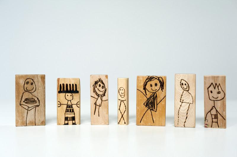 Made By Joel Wood Burned Doll Blocks