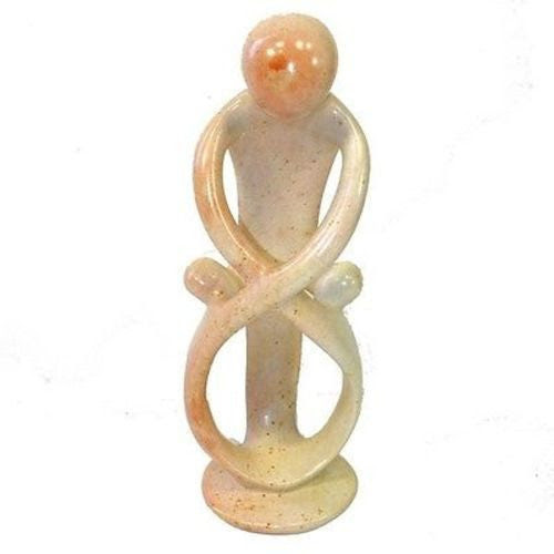 Natural 10-inch Tall Soapstone Family Sculpture - 1 Parent 2 Children Handmade and Fair Trade – Arana Companion