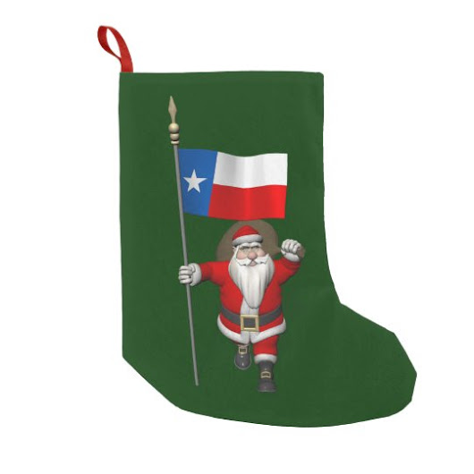 Santa Claus With Ensign Of Texas Small Christmas Stocking