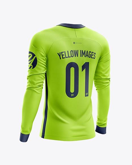Download Men's Soccer Jersey LS mockup (Back Half Side View ...
