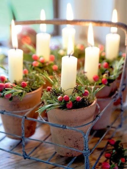 Use mini terracotta pots for this pretty country display