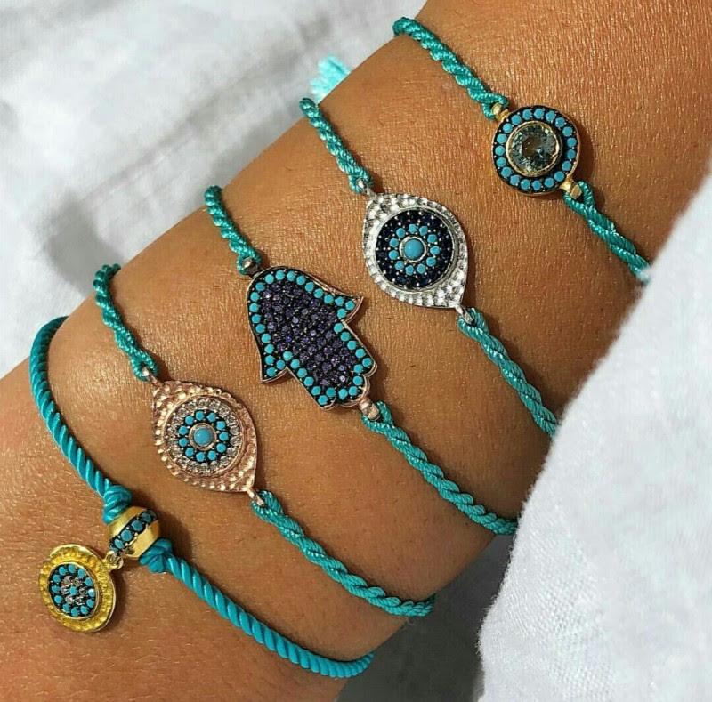 Turquoise Hamsa Hand Of Fatima Evil Eye Brachelets