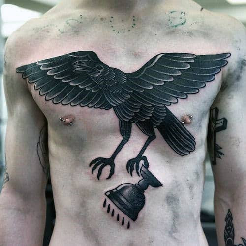 40 Traditional Crow Tattoo Designs For Men Old School Birds