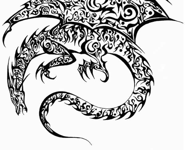Black And White Dragon Drawing At Getdrawingscom Free For