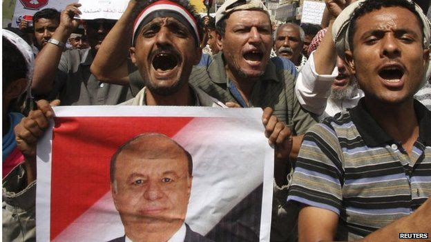 Supporters of President Abdrabbuh Mansour Hadi in Taiz (28/03/15)
