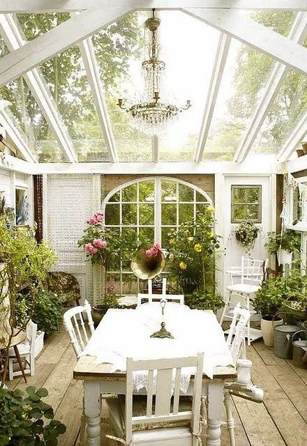 Love the idea of the Chandelier in the sunroom.  Probably even more beautiful at night.