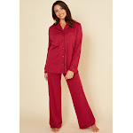 Cosabella Bella Relaxed Long Sleeve Top & Pant - Womens - Red - Small