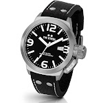 TW Steel Men's TW2 Canteen Black Leather Black Dial Watch