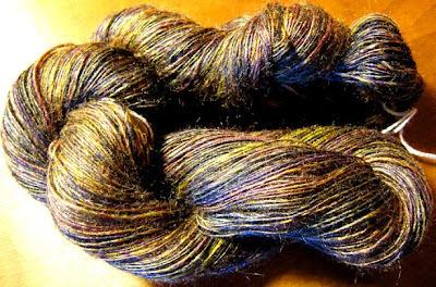 Hand dyed, handspun tussah silk