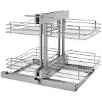Rev-A-Shelf 5PSP-15SC 5PSP Series Pull Out 2 Tier Blind Corner Kitchen Cabinet Organizer with Soft Close for 15 Inch Cabinet Opening Chrome Storage