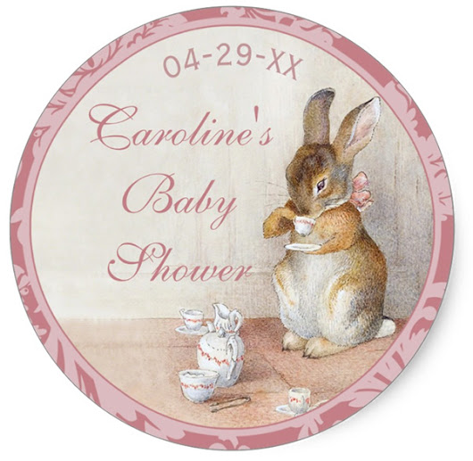 Beatrix Potter Little Rabbit Custom Pink Baby Shower Stickers